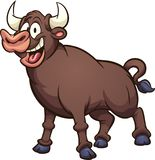 Happy strong and brown cartoon bull vector illustration