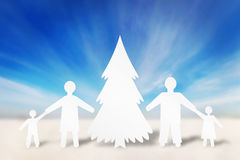 Happy strong family in winter holidays Royalty Free Stock Photos