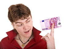 Happy strong man with money. Royalty Free Stock Photography