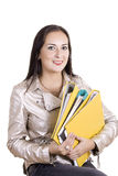 Happy student. Smiling young student's portrait with folders Stock Image