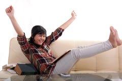 Happy student accomplish. Portrait of happy student accomplished stock image