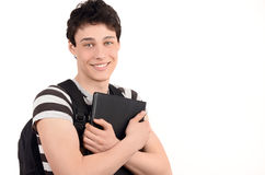 Happy student back to school. Handsome student smiling holding a notebook. Isolated on white background Royalty Free Stock Photos