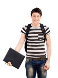 Happy student back to school. Handsome student smiling holding a notebook. Isolated on white background Royalty Free Stock Images