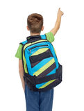 Happy student boy with school bag Stock Image