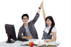 Happy student clapping the hands Royalty Free Stock Photo