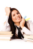 Happy student doing homework Stock Photography