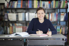 Happy student doing homework Royalty Free Stock Image