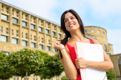 Happy student in european college. Happy female student in european college campus. Higher education successful woman. Universidad Laboral, Gijon, Asturias stock image