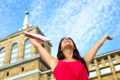 Happy student in european college. Happy female student in european college campus. Higher education successful woman. Universidad Laboral, Gijon, Asturias royalty free stock photos