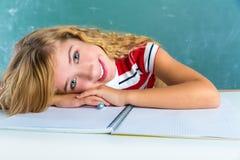 Happy student expression schoolgirl in classroom Stock Photos