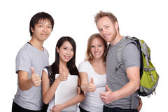 Happy student and friends group thumb up. Isolated on white background, asian and  caucasian Stock Images