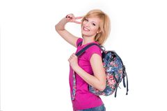 Happy student girl with backpack smiling and Royalty Free Stock Photos