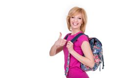 Happy student girl with backpack smiling and Royalty Free Stock Image