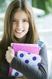 Happy student girl. With books, back to school Royalty Free Stock Photo