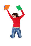 Happy student girl jumping. Royalty Free Stock Photography