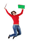 Happy student girl jumping. Stock Photos