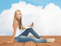 Happy student girl with laptop computer Royalty Free Stock Images