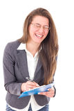 Happy student girl with notebook smiling Stock Photography