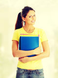 Happy student girl. With notebooks Royalty Free Stock Image