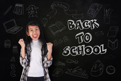 Happy Student Girl Shout with Joy, Back to School Royalty Free Stock Photography