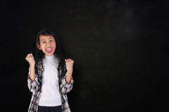 Happy Student Girl Shout with Joy of Victory Royalty Free Stock Photography