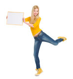 Happy student girl showing blank board Royalty Free Stock Photography