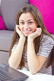 Happy student girl using laptop Royalty Free Stock Images