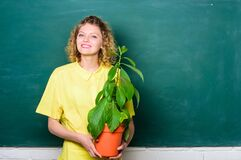 Free Happy Student Girl With Plant At Blackboard. Tree Of Knowledge. School Learning Ecology. School Nature Study Royalty Free Stock Image - 174217956