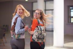 Happy student girls Stock Photos