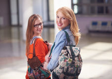 Happy student girls Royalty Free Stock Images