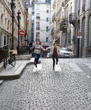 Happy student girls in Paris Royalty Free Stock Photo