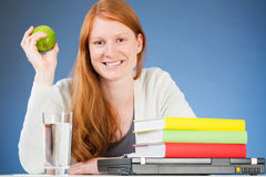 Happy Student with a Healthy Snack Royalty Free Stock Image