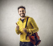 Happy student with his thumb up Royalty Free Stock Photography
