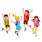 Happy student kids jumping up with raised hands. Group of student kids with backpacks jumping up with raised hands gesture. Happy children boys, girls friends vector illustration