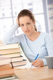 Happy student learning at home smiling Royalty Free Stock Images