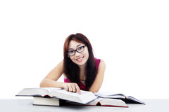 Happy student learning isolated on white Royalty Free Stock Image