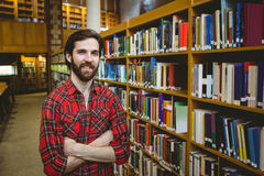 Happy student in the library. At the university Royalty Free Stock Image