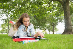Happy student lying on the grass studying Stock Photography