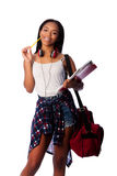 Happy student with notepad binders thinking Royalty Free Stock Photography