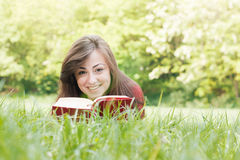 Happy student outdoors relaxed Stock Images