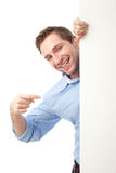 Happy student pointing board. Portrait of student pointing board. Isolated on white Stock Photography