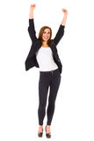 Happy student with raised hands. Stock Images