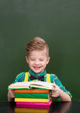 Happy student reading a book near empty green chalkboard.  Stock Photography