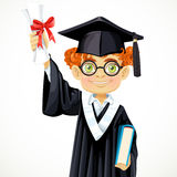 Happy student redhead boy in glasses holding a diploma Royalty Free Stock Image