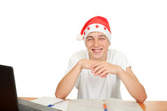 Happy student in santa hat Royalty Free Stock Photography