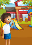 A happy student at the school's playground Stock Image