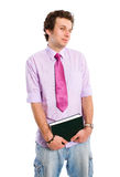 Happy student in shirt and tie holds book Stock Image