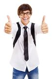 Happy student shows thumb up. Funny latin college student with glasses and bag showing thumb up by both hands. Isolated on white background, mask included Stock Images