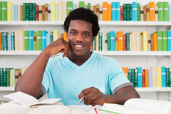 Happy Student Sitting In Library. Portrait of happy male student sitting at desk in library Royalty Free Stock Photo