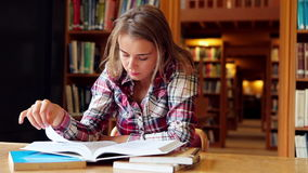 Happy student studying at desk in the library stock footage